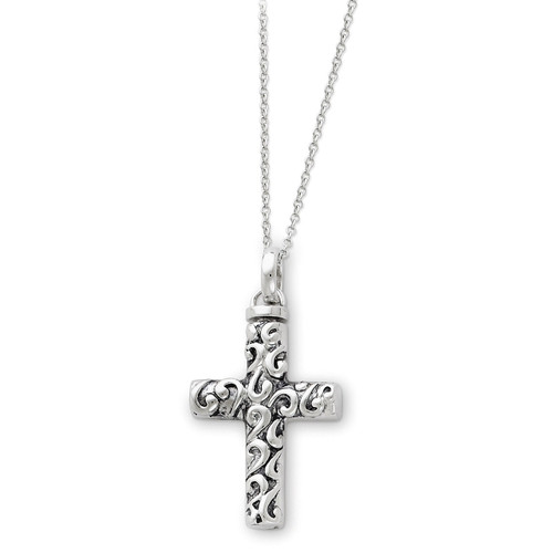 Cross Remembrance Ash Holder 18 Inch Necklace Sterling Silver Antiqued QSX177
