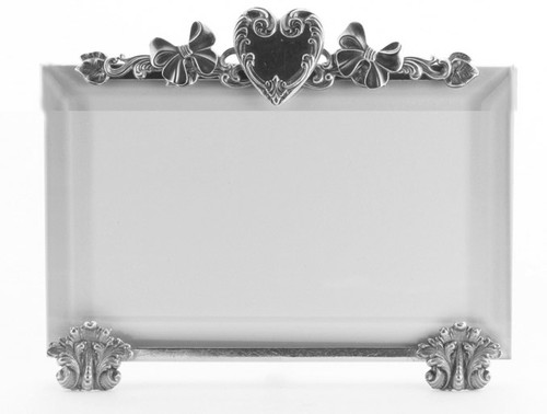 La Paris Heart And Bows 5 x 7 Inch Silver Plated Picture Frame - Horizontal