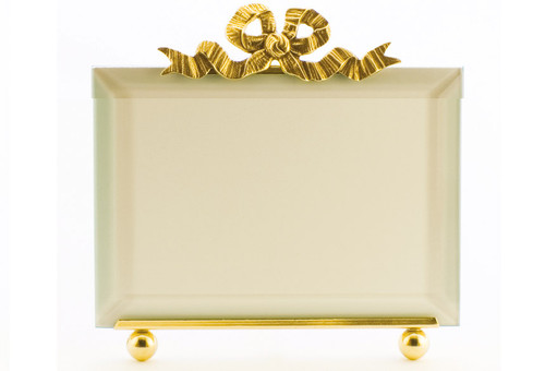 La Paris Large French Bow 5 x 7 Inch Brass Picture Frame - Horizontal