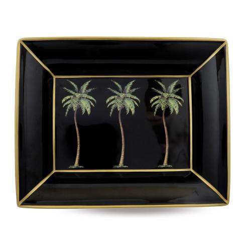 Halcyon Days Palm on Black Trinket Tray BCMWP02TTG
