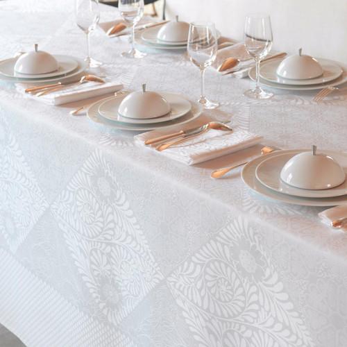 Le Jacquard Francais Bosphore Blanc White Tablecloth 69 x 98 Inch