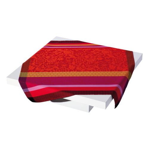 Le Jacquard Francais Provence Enduite Strawberry Coated tablecloth 69 x 69 Inch