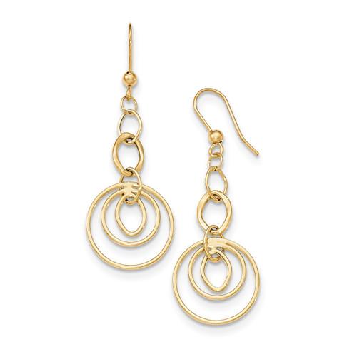 Circles Ovals Shepherd Hook Earrings 14k Gold Polished SF2210