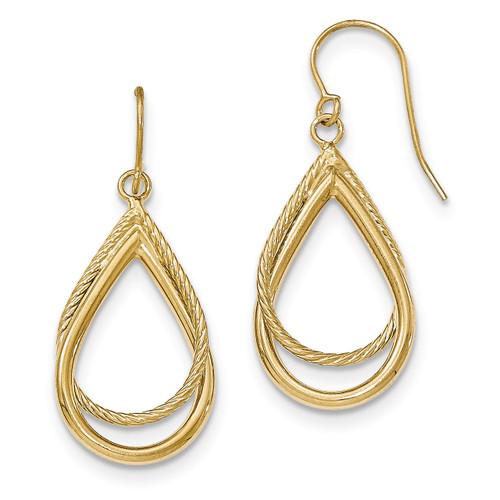 Textured Shepherd Hook Earrings 14k Gold Polished TF548