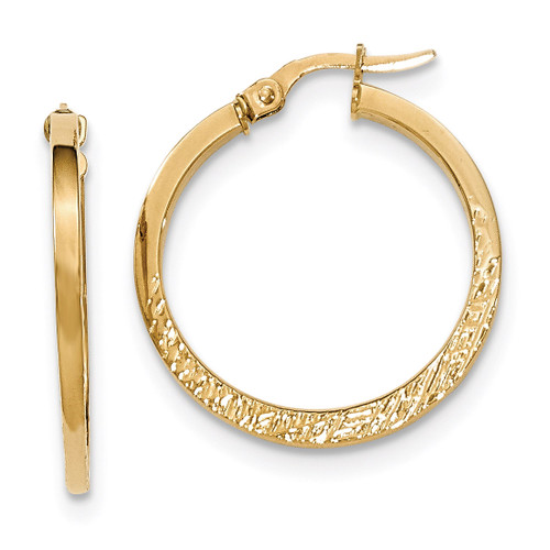 Post Hoop Earrings 14k Gold Polished Textured TF599