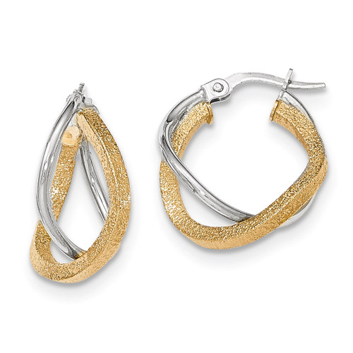 Post Hoop Earrings 14k Two-tone Gold Polished Textured TF698