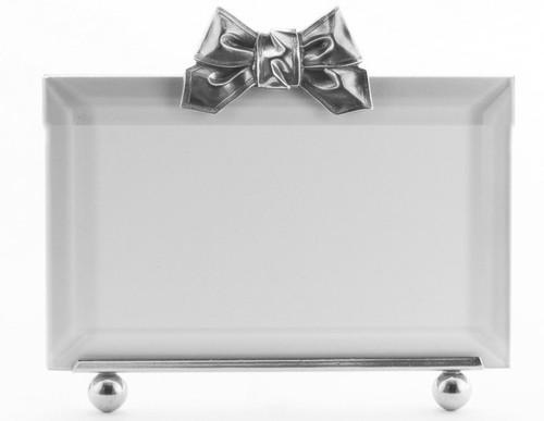 La Paris Ribbon 3.5 x 5 Inch Silver Plated Picture Frame - Horizontal
