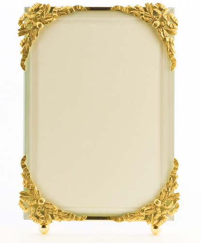 La Paris Ribbon Corners 5 x 7 Inch Brass Picture Frame - Vertical