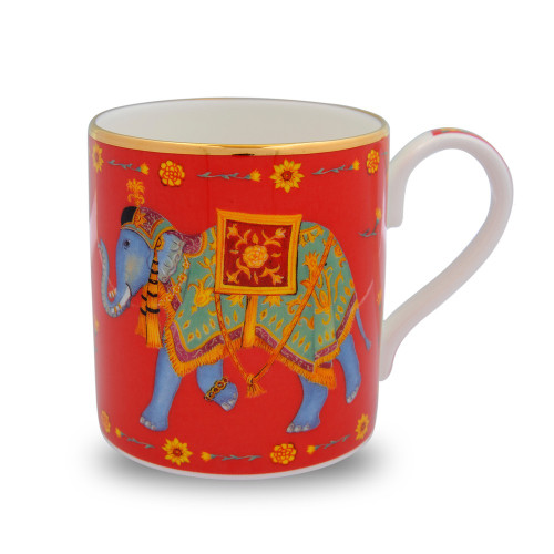 Halcyon Days Ceremonial Elephant Red Mug