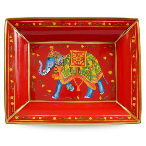 Halcyon Days Ceremonial Elephant Red Trinket Tray