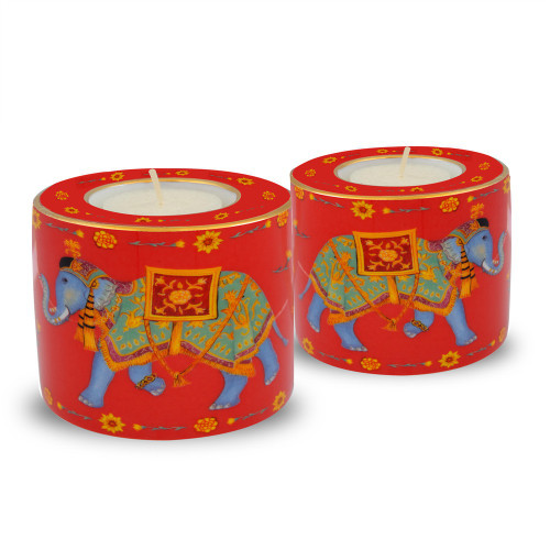 Halcyon Days Ceremonial Elephant Red Tealight Set Of 2