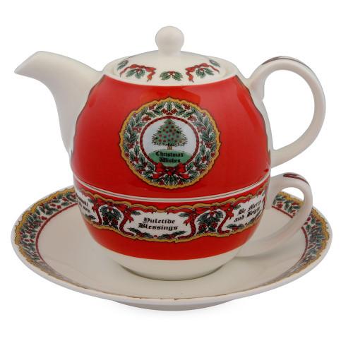 Halcyon Days Vintage Christmas Tea For One Set
