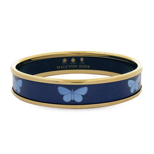 Halcyon Days 1Cm Blue Butterfly On Navy Push On Bangle Medium