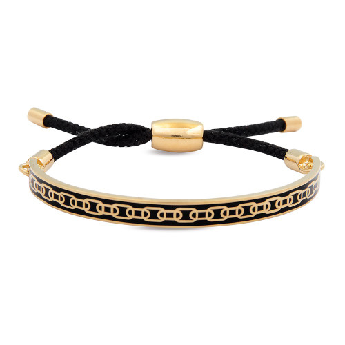 Halcyon Days Friendship Skinny Chain Black Gold Hinged Bangle FBSCH0206G