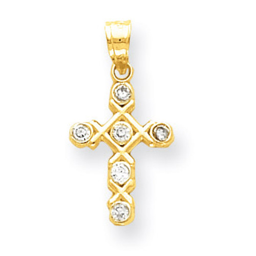 10k Gold Polished Diamond Cross Charm 10YC183