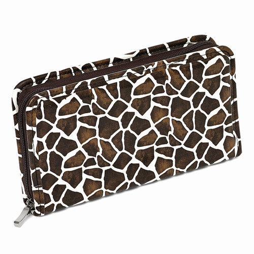Brown Giraffe Print Zip Around Jewelry Wallet GM8421