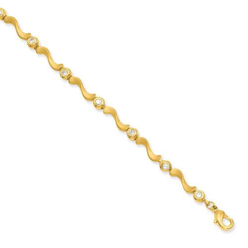 8.25 inch Gold-plated Bezel Diamond S Link Bracelet KW460-8.25