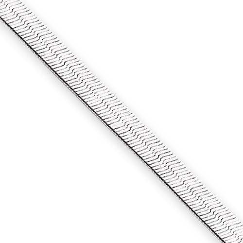 18 inch Rhodium-plated 4.5mm Silky Herringbone Necklace KW490-18