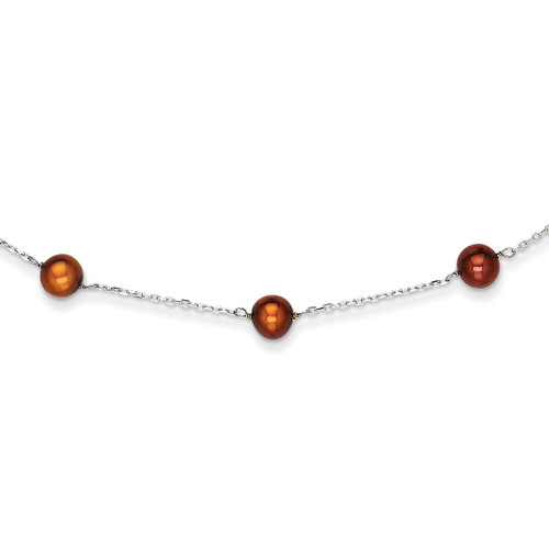 14k White Gold Brown Fresh Water Cultured Pearl Necklace PR59-16
