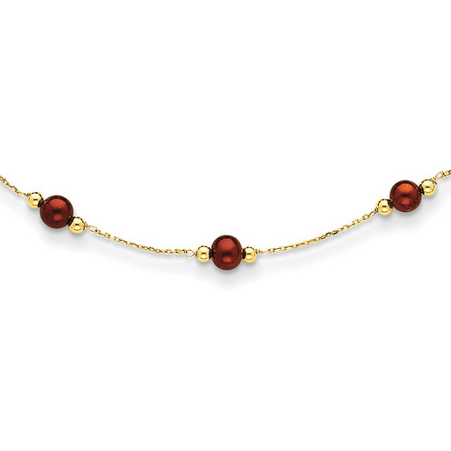 14k Gold Coffee Brown Fresh Water Cultured Pearl & Bead Necklace PR76-18