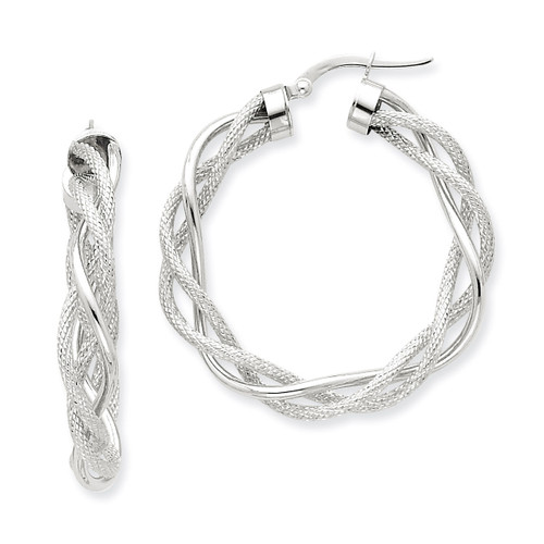 14k White Gold Polished & Satin Twisted Hoop Earrings PRE764W