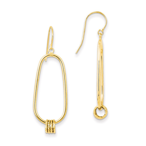 14k Gold Oval Shepherd Hook Earrings PRE892