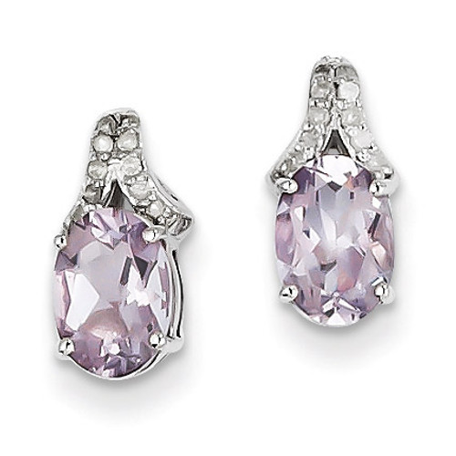 Sterling Silver Diamond & Pink Quartz Oval Post Earrings QE10060PQ