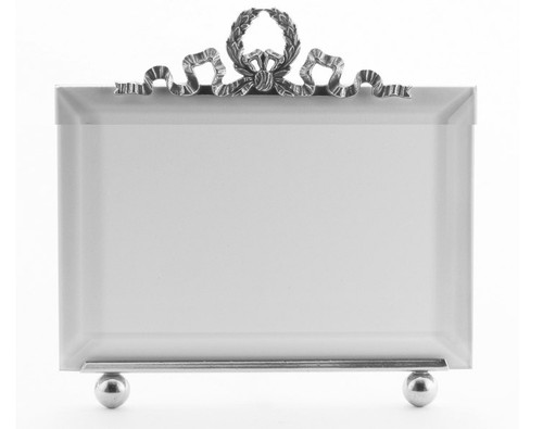 La Paris Wreath And Ribbon 5 x 7 Inch Silver Plated Picture Frame - Horizontal
