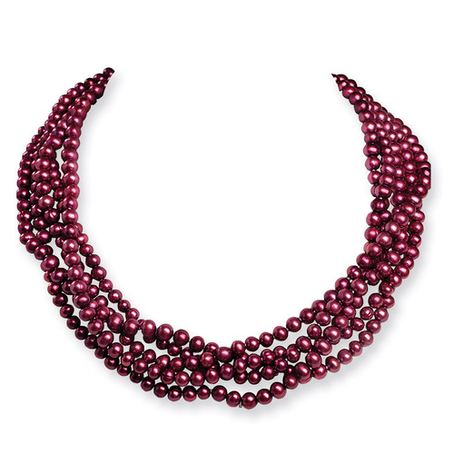 5.5-6mm Fresh Water Cultured Magenta Pearls 100 inch Knotted Strand Necklace QH2055-100