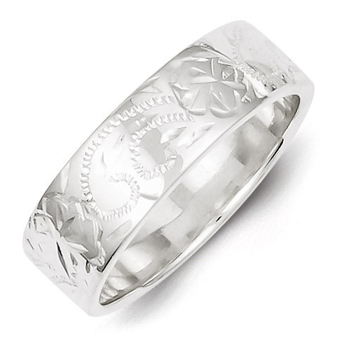 Sterling Silver Designed 6mm Band Ring QR4200-6
