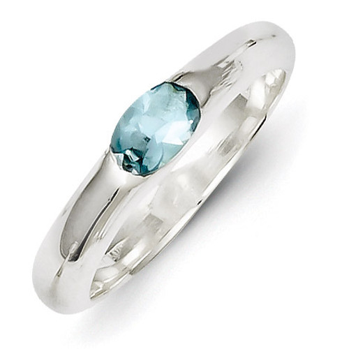 Sterling Silver Light Blue Oval Diamond Half Bezel Ring QR4403-6