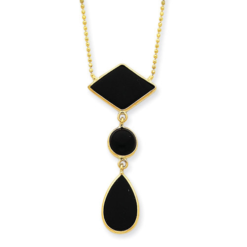 14k Gold 16 inch Fancy Onyx Necklace SF817-16