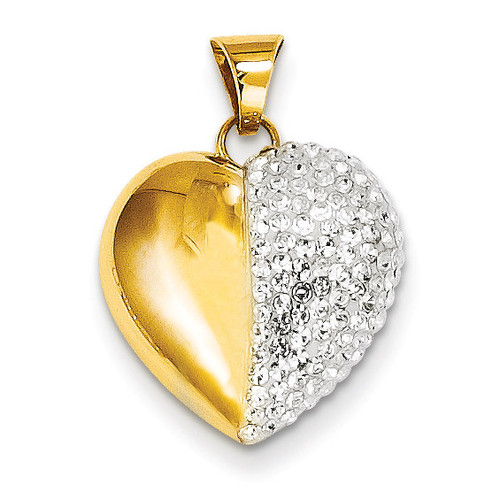 14k Gold Swarovski Elements White Heart Pendant YE1549
