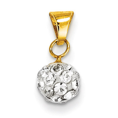 14k Gold Swarovski Elements White 2mm Bead Pendant YE1553