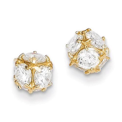 14k Gold Diamond 6mm Post Earrings YE1601