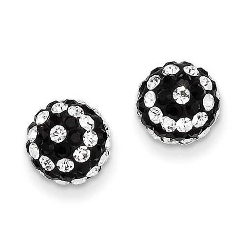 14k Gold Crystal Black and White Stripe 8mm Post Earrings YE1628