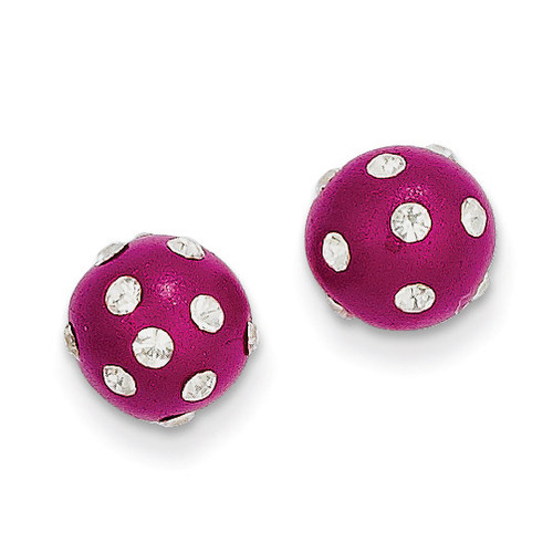 14k Gold Crystal Fuchsia 8mm Post Earrings YE1634