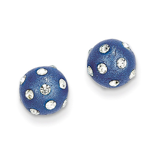 14k Gold Crystal Dots Blue 8mm Post Earrings YE1635
