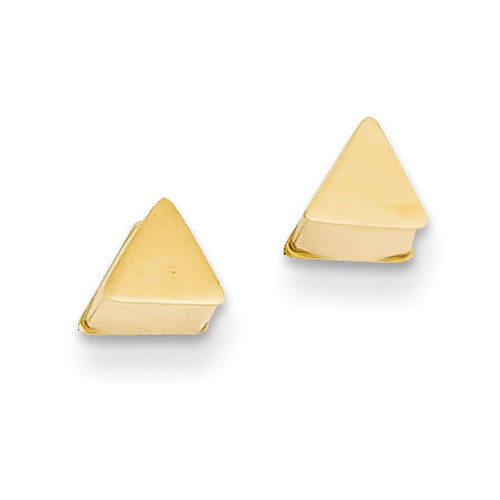 14k Gold Polished Hollow Triangle Post Earrings YE1645