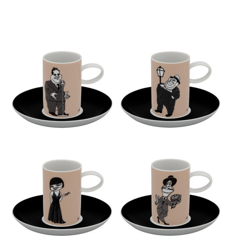 Vista Alegre A Viagem Set of 4 Coffee Cups & Saucer Actors