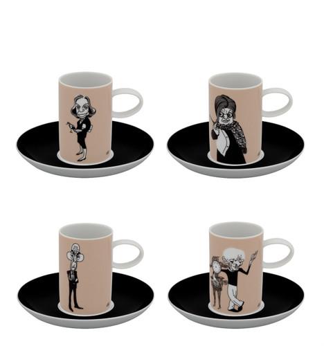 Vista Alegre A Viagem Set of 4 Coffee Cups & Saucer Writers
