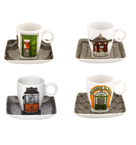 Vista Alegre Alma De Lisboa Set of 4 Cups & Saucers with Gift Box