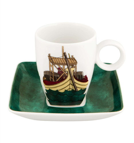 Vista Alegre Alma De Porto Coffee Cup & Saucer Barco Rebelo