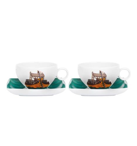 Vista Alegre Alma De Porto Set of 2 Tea Cup & Saucer with Gift Box