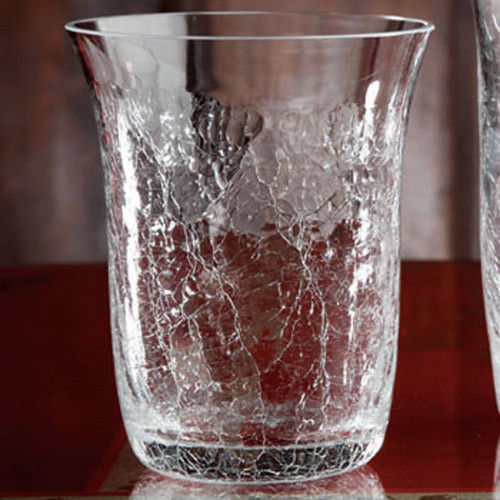 Casafina Glassware Double Old Fashion Crackle Set of 6
