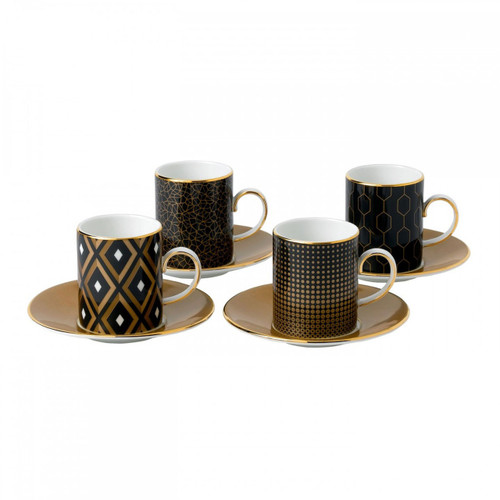 Wedgwood Arris Accent Espresso Cup and Saucer Set of Four