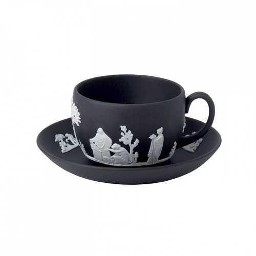 Wedgwood Jasperware Teacup and Saucer Black