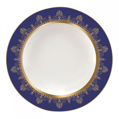 Wedgwood Anthemion Blue Rim Soup Plate 9 Inch