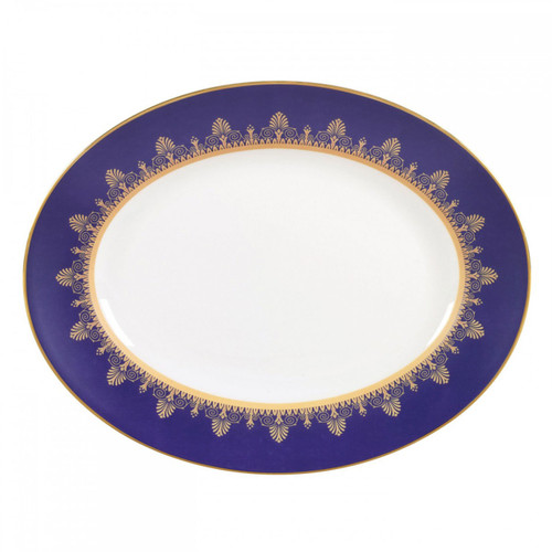 Wedgwood Anthemion Blue Oval Platter 13.75 Inch
