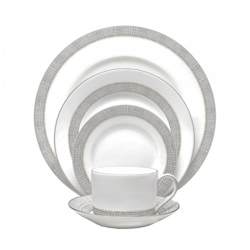 Vera Wang Gilded Weave Platinum Five 5 Piece Place Setting